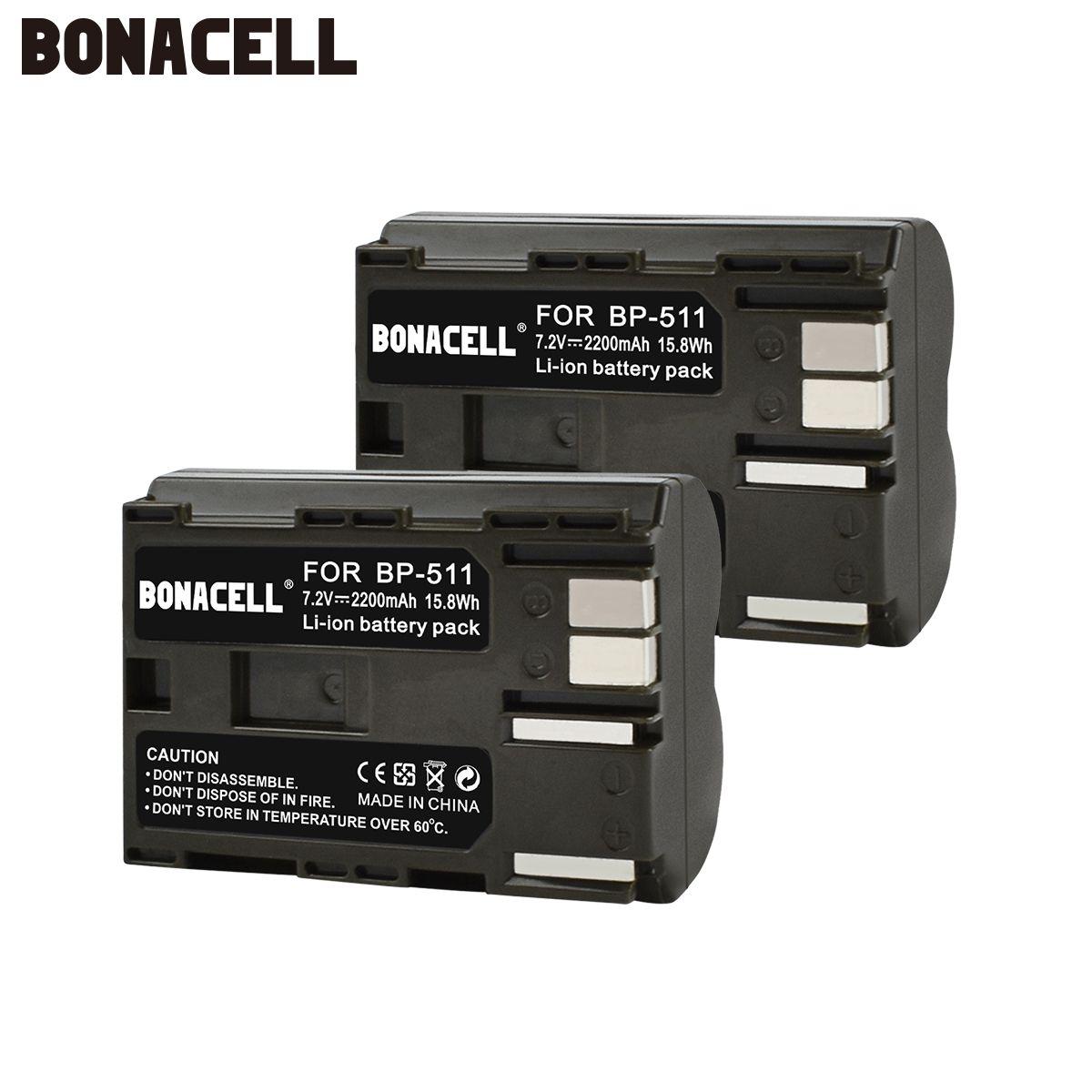 Bonacell 2200mAh BP-511 BP-511A BP 511A for Camera Battery BP511 BP 511 For Canon EOS 40D 300D 5D 20D 30D 50D 10D G6 L10