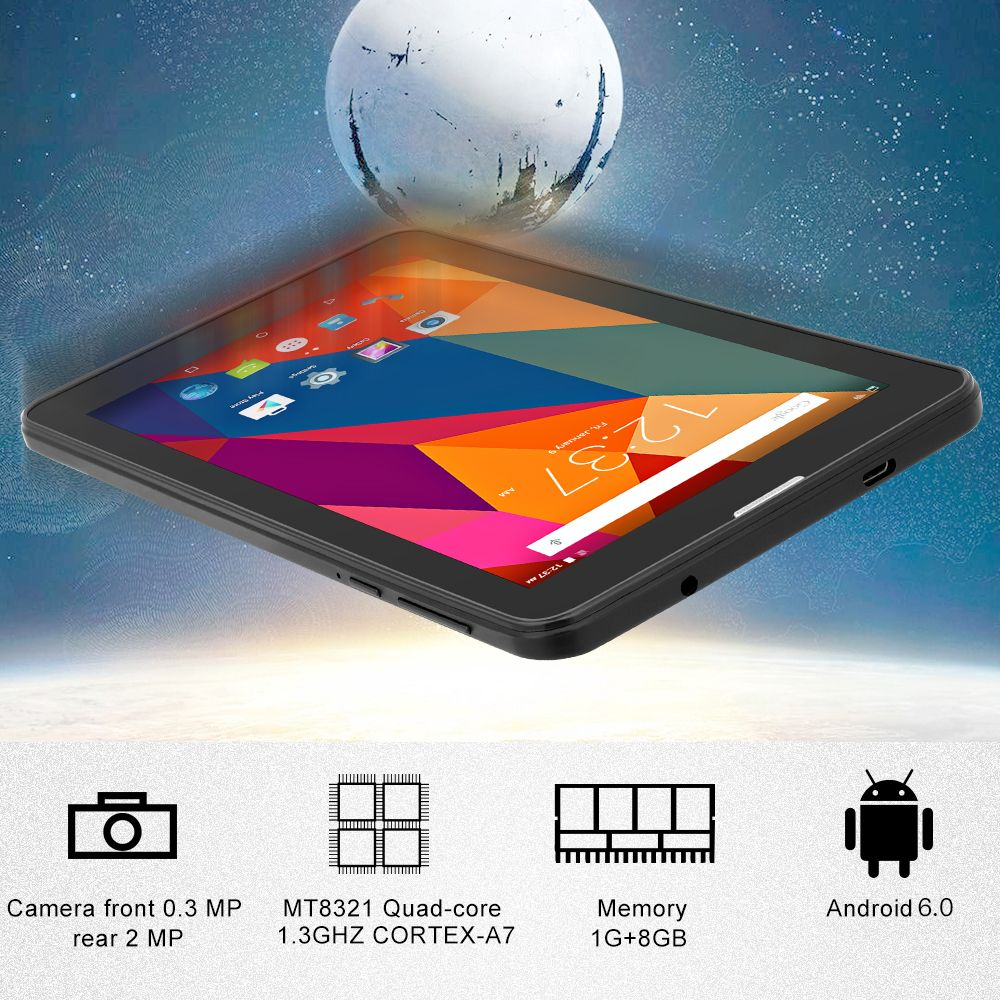 Yuntab 7inch E706 Android 6.0 Tablet PC Quad Core Cortex A7 with Dual Camera Support Dual SIM card 2500mAh battery (black)