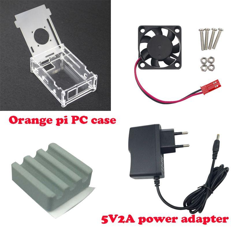 Vente chaude Transparent Acrylique Cas Pour Orange Pi PC + Céramique dissipateur de chaleur + ventilateur de refroidissement + DC 5V2A puissance chargeur pour Orange Pi PC Plus