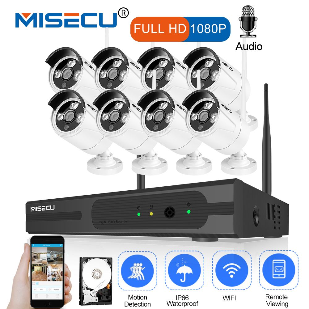 MISECU 8CH CCTV System Wireless 1080P HD NVR 8PCS 2.0MP Wifi Security Camera Audio IR Outdoor Waterproof P2P Surveillance Kit