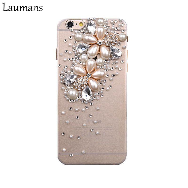 Laumans Top Qualité Téléphone Cas Pour Apple Iphone 6 6 s X Perle fleur 3D Bling Strass Crystal Quatrième de couverture Téléphone 4S 5S 7 8 plus