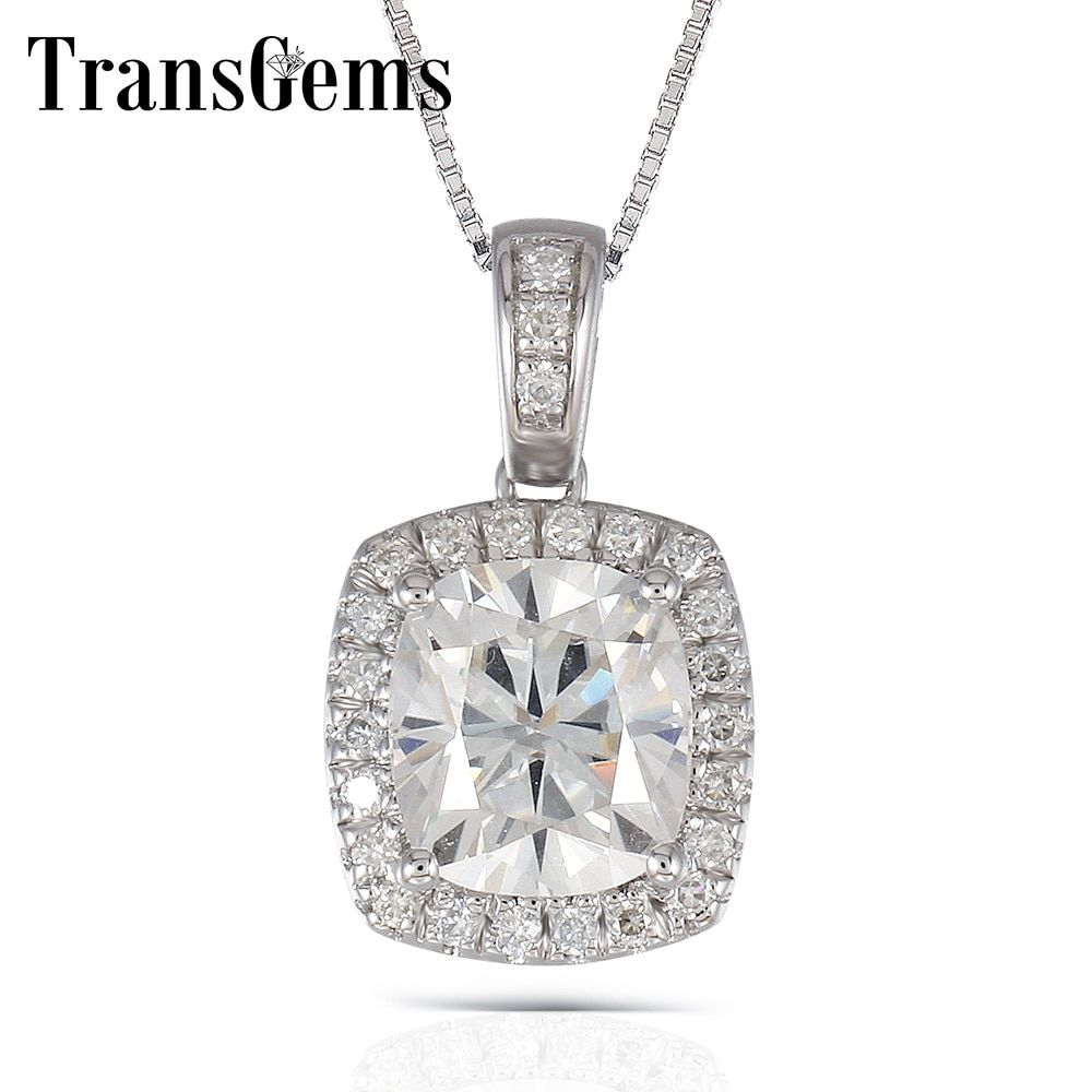 Transgems Platinum Plated Silver 2.18CTW 7X8mm H Nearly Colorless Cushion Cut Moissanite Halo Pendant Necklace for Women