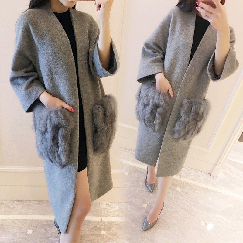 Мода Кашемир Марка осень серый пиджак женские винтажные 2017 черные высокие зимние шерстяное пальто дизайнер меха лисы карман Роскошные 6XL