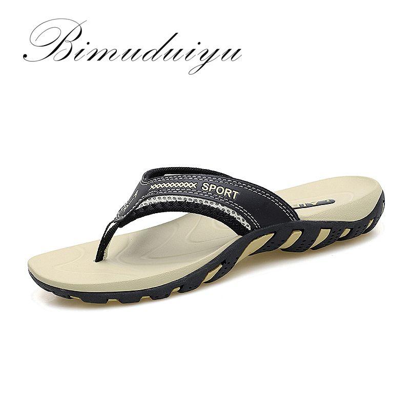 BIMUDUIYU marque tongs pour hommes été mode plage sandales chaussures pour hommes confortable classique Massage plage pantoufles