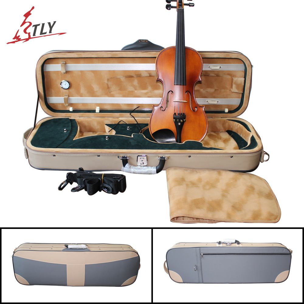 TONGLING New Artificial Leather Waterproof Violin Case w/ Hygrometer High-end Violin Case for 4/4 Violin Fiddle