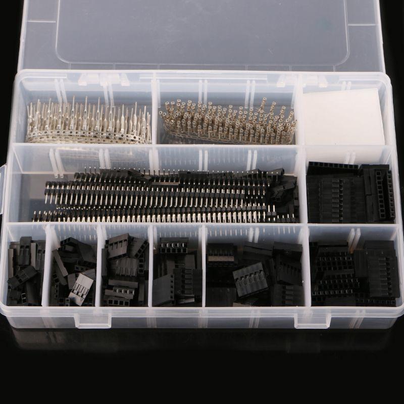 1450 Pcs/ensemble 2.54mm Dupont Connecteur Kit PCB Têtes Mâle Femelle Broches Électronique