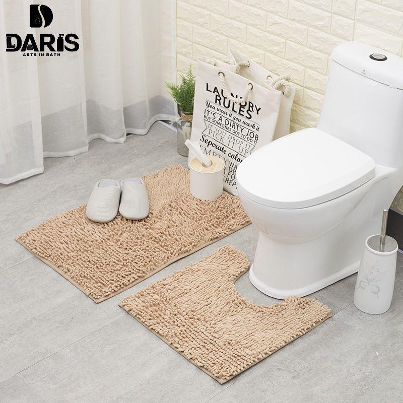 Anti-slip Bathroom Floor Mat Machine Washable Microfiber Chenille Bath Mats <font><b>Toilet</b></font> Door Mat Outdoor Shower room Rugs And Mats