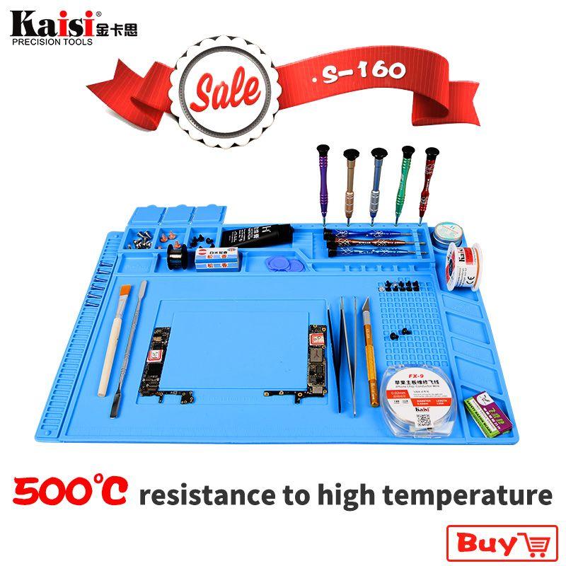 S-160 45X30 cm Isolation thermique Silicone Pad Tapis de Bureau Plate-Forme de Maintenance Pour BGA À Souder Station De Réparation Avec Magnétique Section