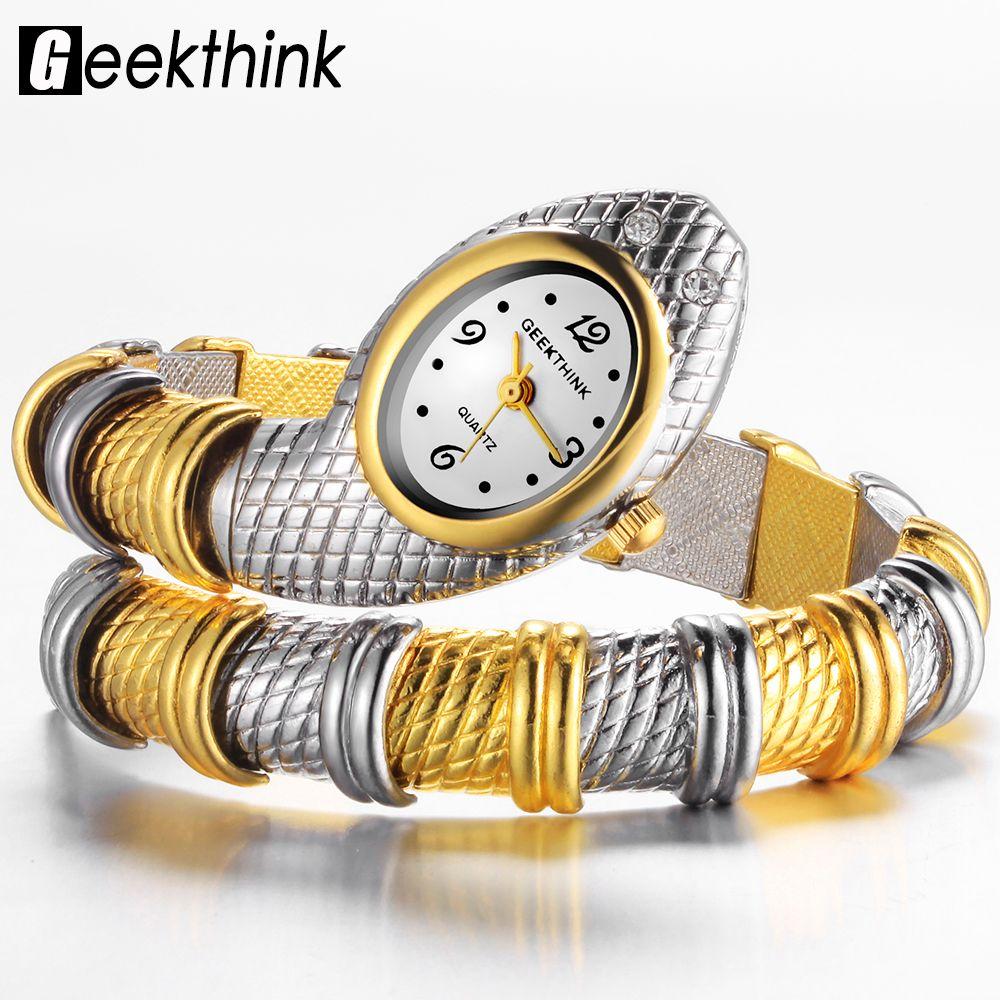 GEEKTHINK Unique Marque De Mode Quartz Montre Bracelet Femmes Dames Serpent Robe Montre Bracelet Diamant Ornements De Luxe Argent Or
