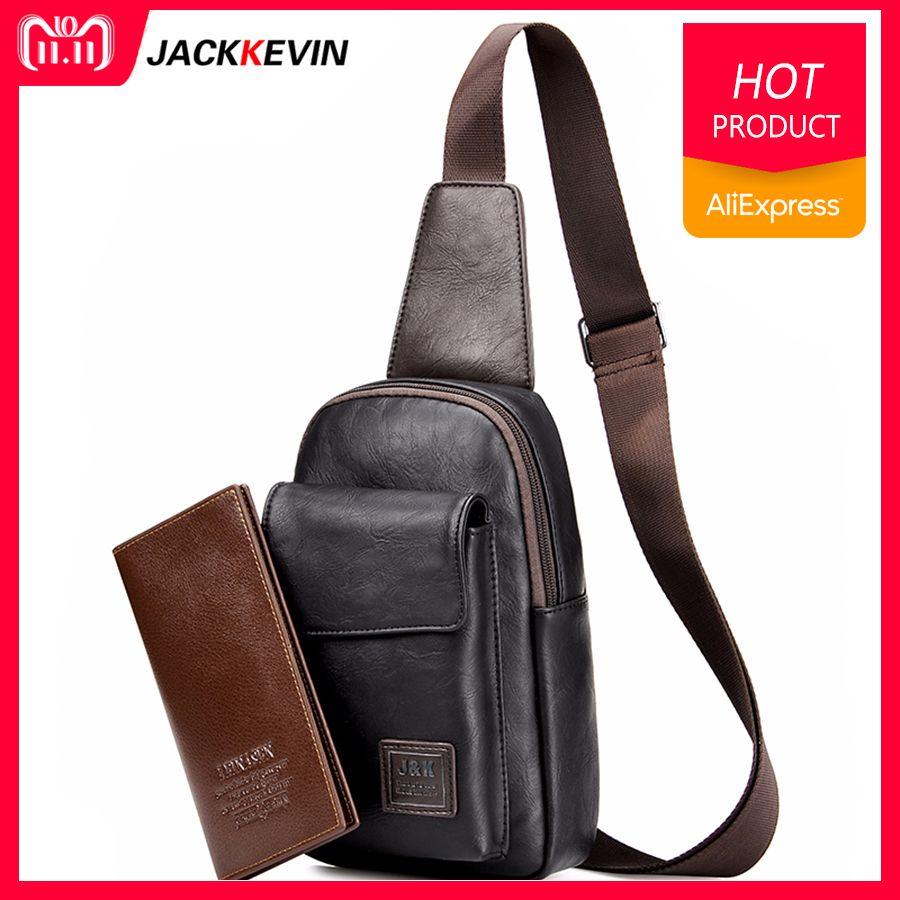 Men's Fashion Retro PU Foot Leisure Travel Bag Shoulder Messenger Bag Waterproof Wear <font><b>Chest</b></font> Harness <font><b>Chest</b></font> Pocket