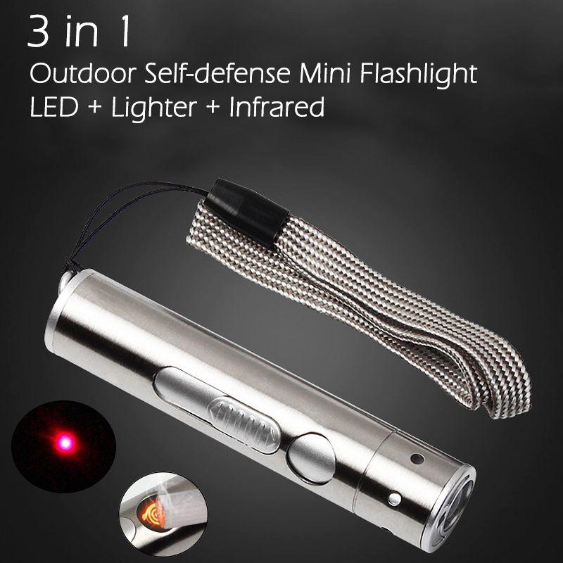 Acier inoxydable 3 en 1 En Plein Air Auto-défense Mini Protable LED lampe de poche En Alliage D'aluminium Torche Haute Puissance Conduit Plus Léger infrarouge