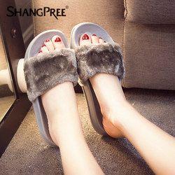Besar Ukuran 36-41 Panas Wanita Sandal Fashion Musim Semi Musim Panas Musim Gugur Mewah Sandal Wanita Bulu Imitasi SLIDE Sandal Jepit sepatu Datar
