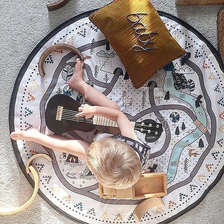 Intelligence Kids DIY Graffiti Toy Baby Room Decor Carpet Portable Play Mat Large Durable Round kids Crawling Rug Carpet Blanket