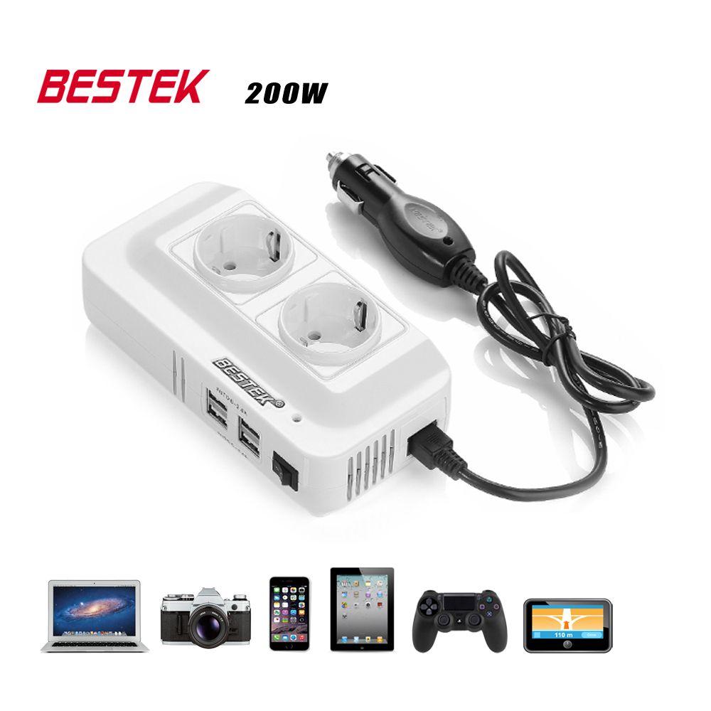 BESTEK 200W Power Inverter DC 12V To AC 230V Car Converter With 4-Port USB Charging Ports (EU <font><b>Plug</b></font>) Auto Power Inverter Adapter