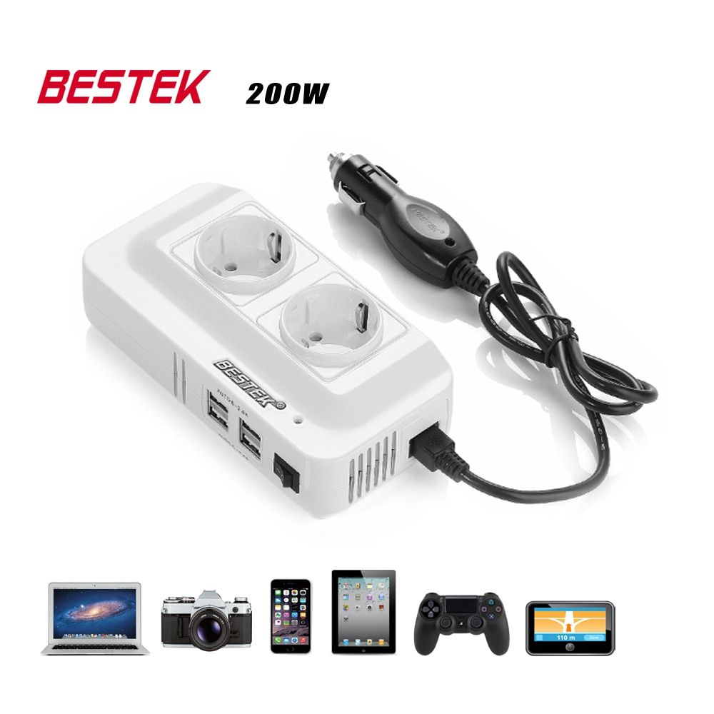 BESTEK 200W Power Inverter DC 12V To AC 230V Car Converter With 4-Port USB Charging Ports (EU Plug) Auto Power Inverter Adapter