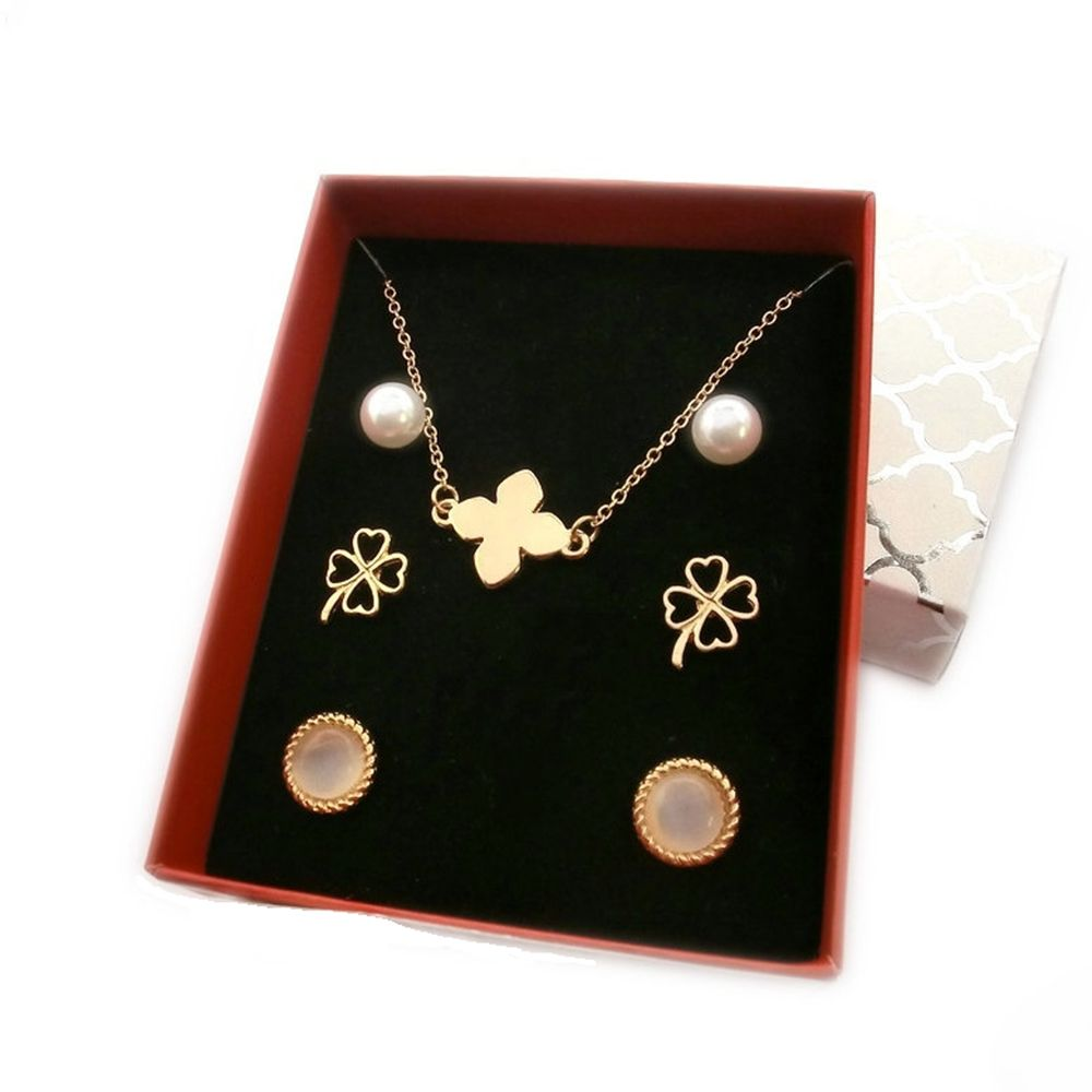 FUNIQUE 4PCs 46cm Gold Color Pearl Jewelry Gift Box Clavicle Chain For Best Friend Lovers Jewelry Gift Long Necklace Fashion