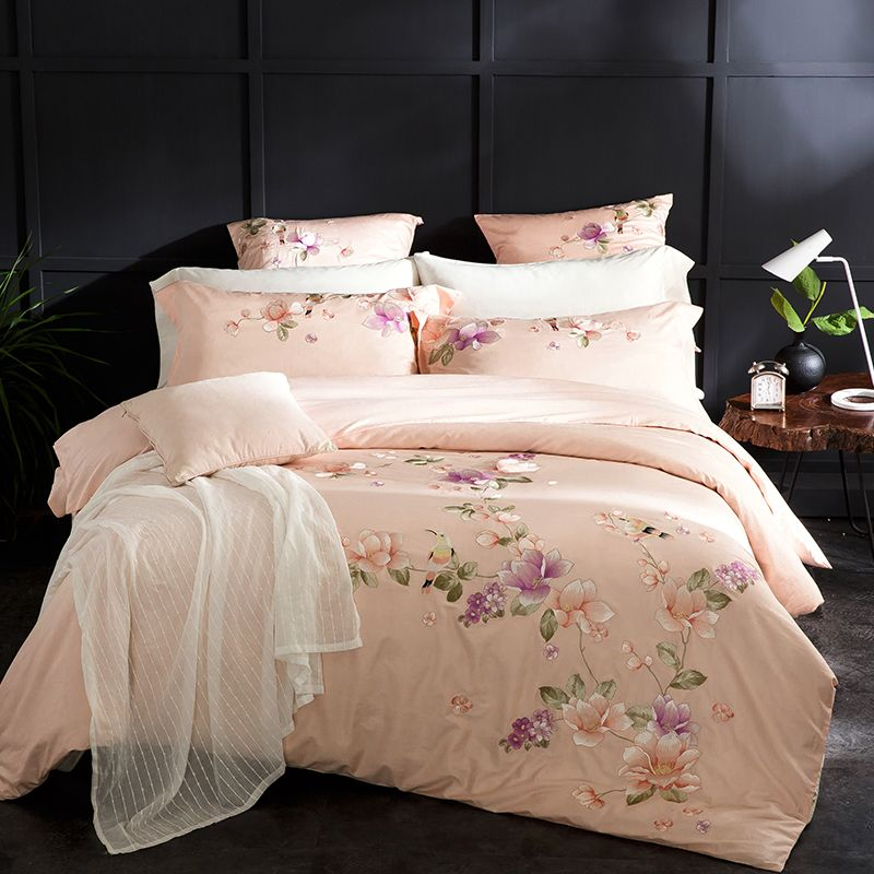 Pastoral Floral Beige Solid Bedding Sets Queen King Size Embroidery Egyptian Cotton Bedlinens Duvet Cover Bedsheet Pillow Cases