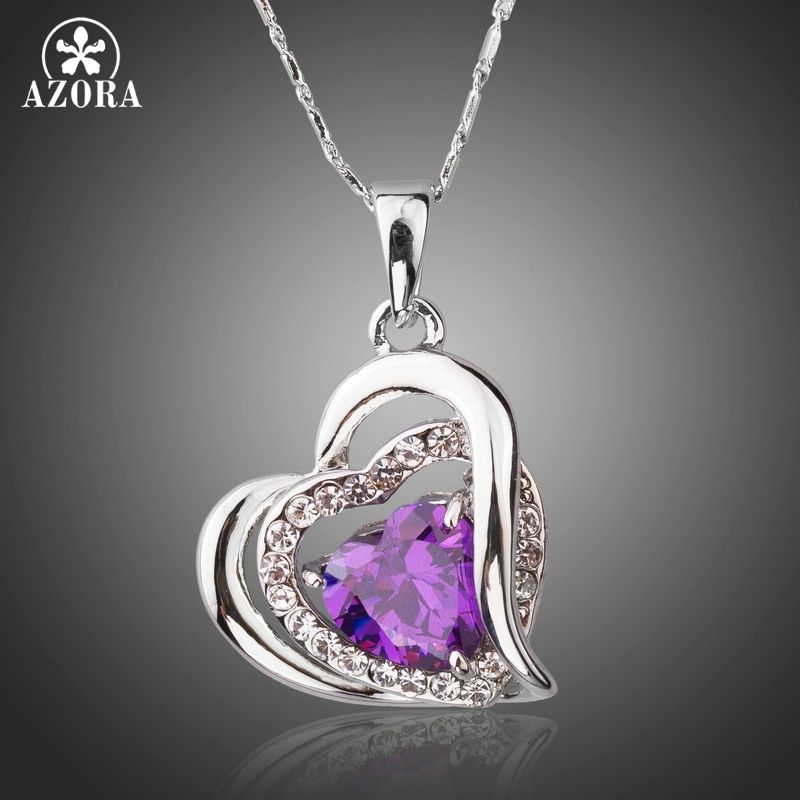 AZORA Forever Love Three Heart Superposition Romantic Purple Cubic Zirconia Pendant Necklaces for Valentine's Day Gift TN0200