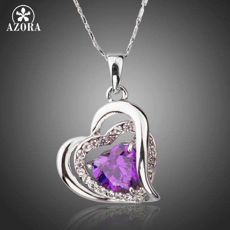 AZORA Forever Love trois coeur Superposition romantique violet cubique zircone pendentif colliers pour la saint valentin cadeau TN0200