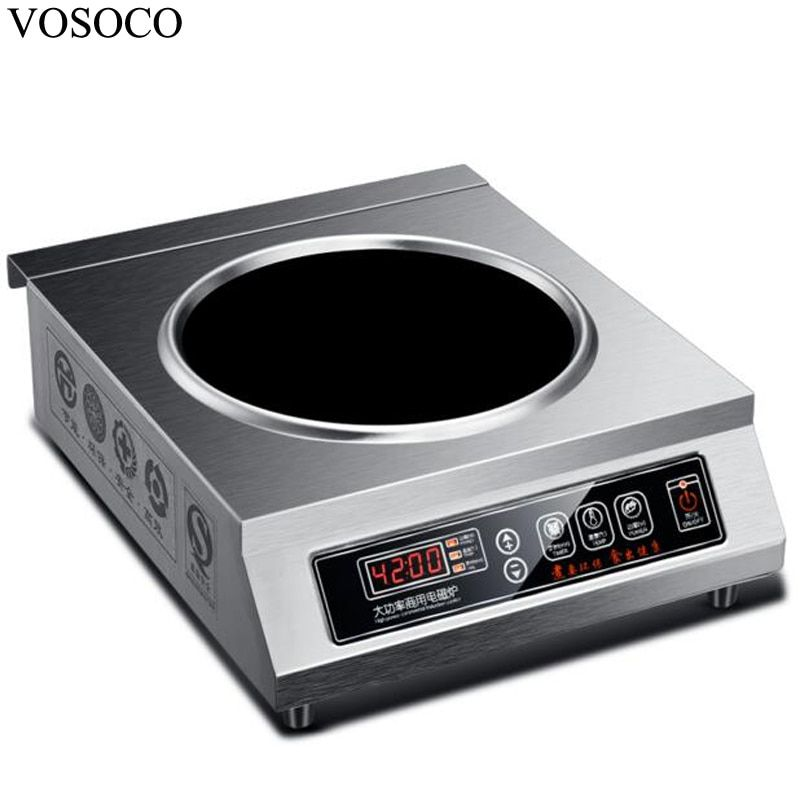 VOSOCO Electromagnetic furnace induction cooker 4200W electromagnetic stove 11 gear with concave commercial electromagnetic oven