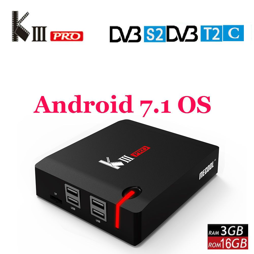 MECOOL KIII PRO DVB-S2 DVB-T2 DVB-C Android 7.1 TV Box 3GB 16GB Amlogic S912 Octa Core 4K Media Player Combo Set Top Box PowerVU