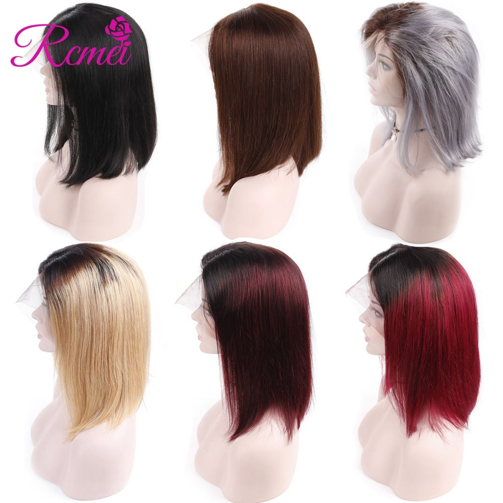 Rcmei Ombre Lace Front Human Hair Wigs Peruvian Straight Hair Short Bob Wigs For Women Wine Red Honey Blonde Grey Colored Wigs