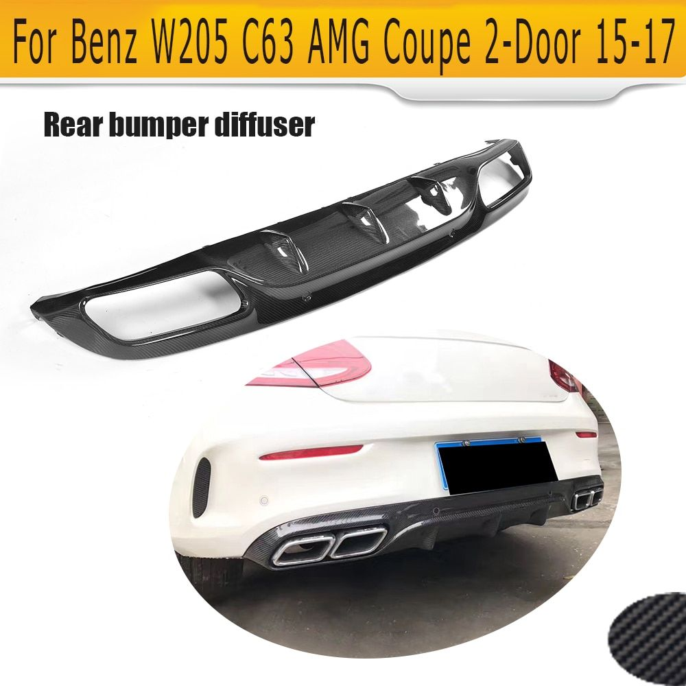 C Class Carbon Fiber Rear Bumper Diffuser Lip for Mercedes Benz W205 C205 Coupe Only 15-17 C63 AMG S C180 C250 C300 C350 O Style