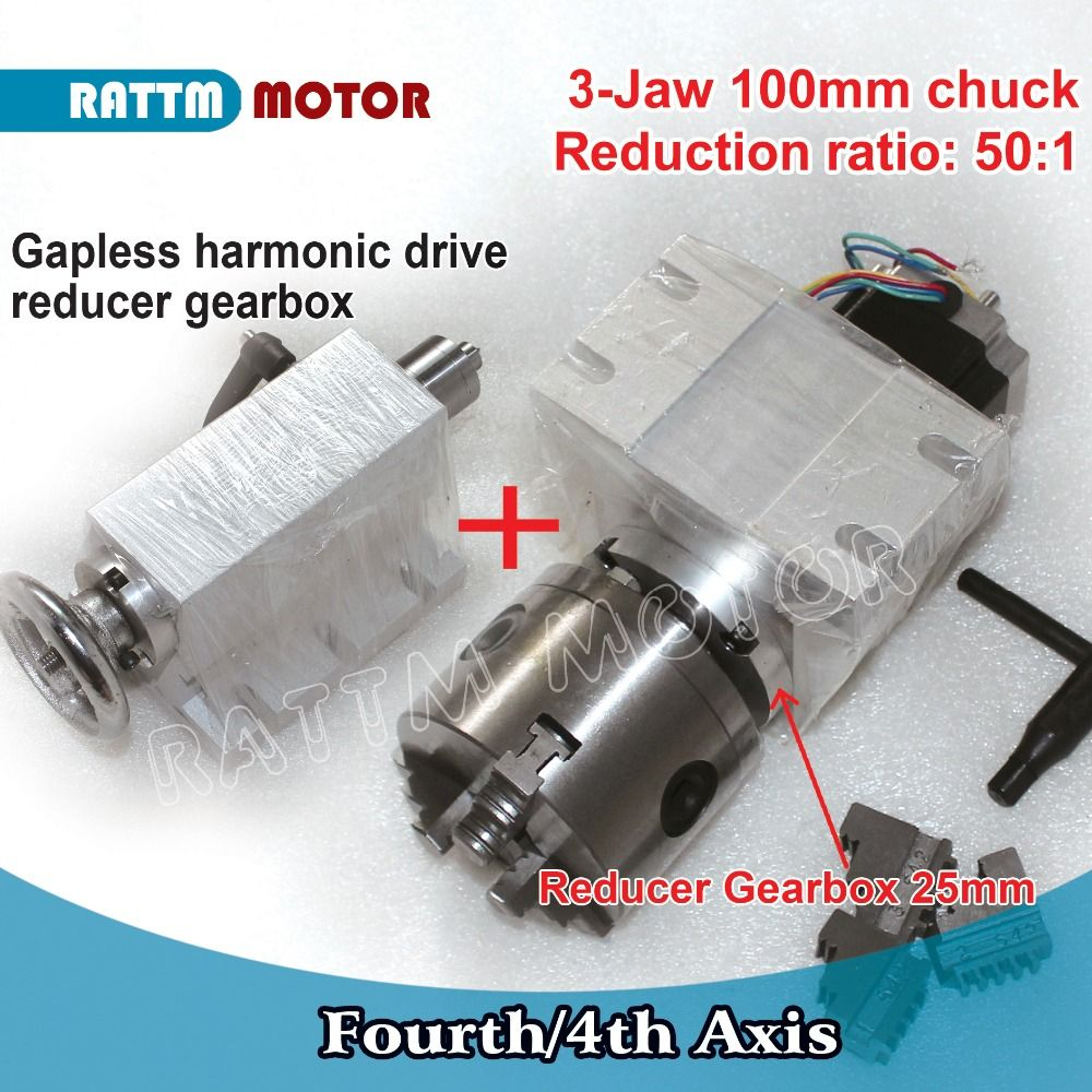 RUS/EU Schiff!! 50: 1 4th Achse (A aixs, drehachse) gapless harmonic minderer Getriebe k11-100mm teilapparat & Reitstock CNC Router