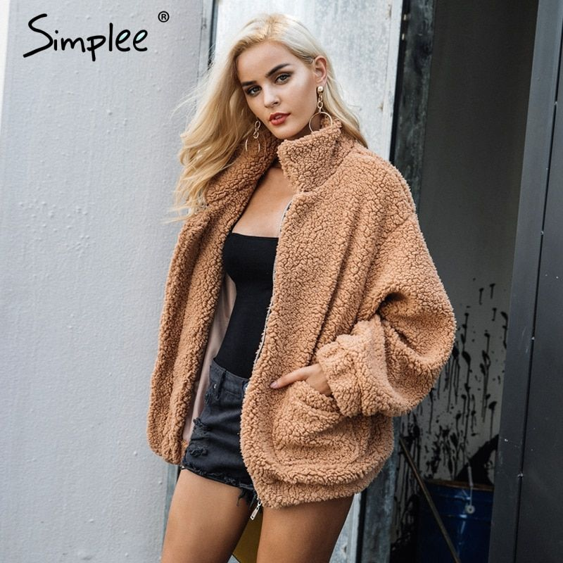 Simplee Faux lambswool oversized jacket coat Winter black warm hairly jacket Women autumn outerwear <font><b>2017</b></font> new female overcoat