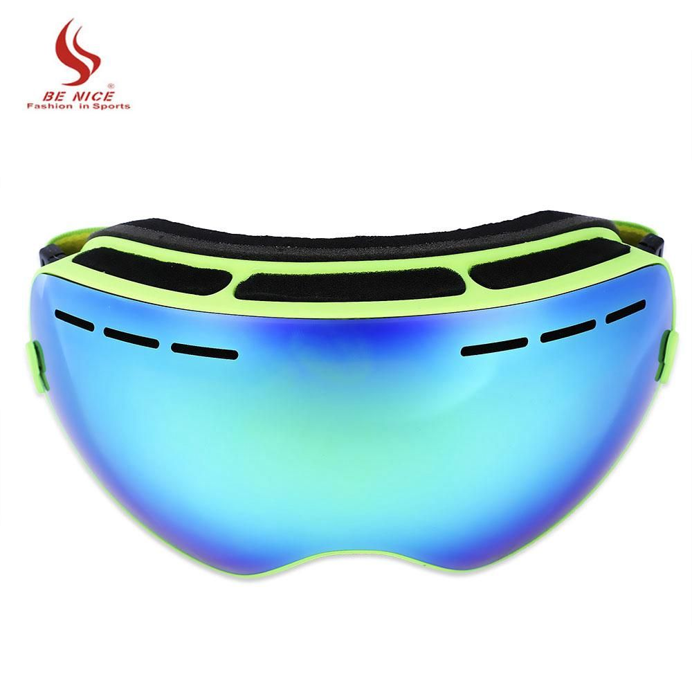 Be Nice Skiing Eyewear Unisex Double Lens UV400 Anti-Fog Big Spherical Skiing Glasses Snow Ski Goggles Snowboard Eyewear Mask