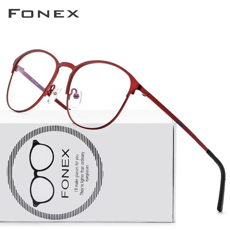 Titane lunettes cadre femmes marque Designer femme Vintage rond Prescription lunettes rouge pleine myopie optique montures lunettes