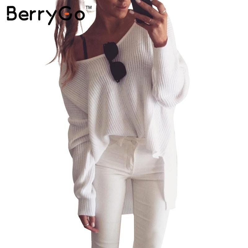 Berrygo Sexy с плеча Сплит вязаный свитер Для женщин брендовые черные пуловеры осень зима 2016 белый джемпер Тянуть Роковой
