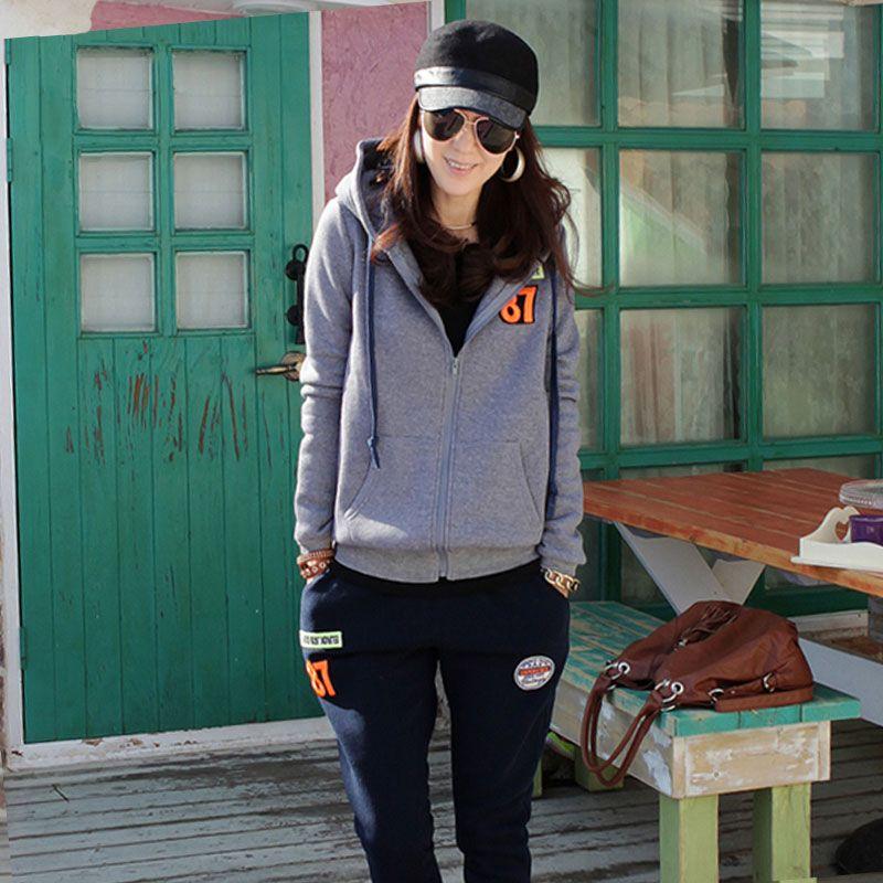 Women's Sweatshirt Tracksuits Winter 2018 Casual Letter Print Plus Velvet Thick Cotton Hoodies + Pants Sportswear Suits Female