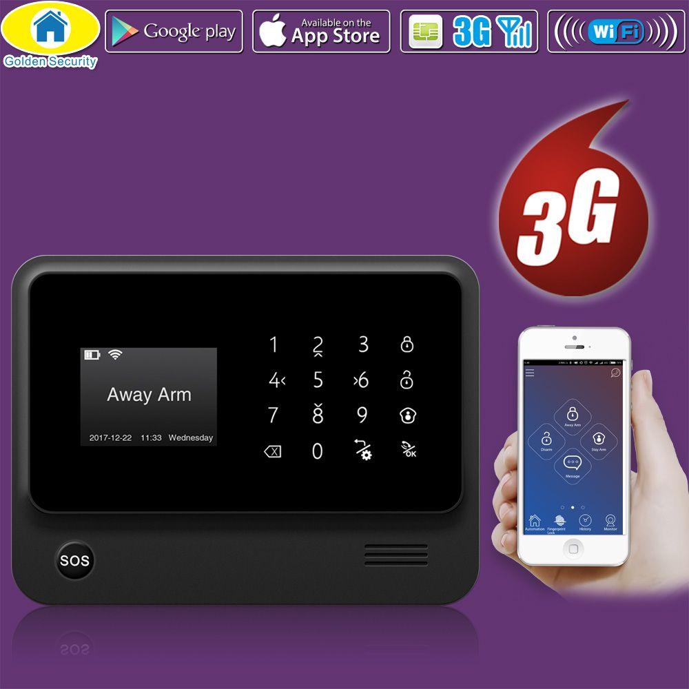 D'or de Sécurité EN RU FR ES SE NL TR Commutable Sans Fil À Domicile sécurité WIFI GSM 3G GPRS système D'alarme APP Télécommande DIY Kit