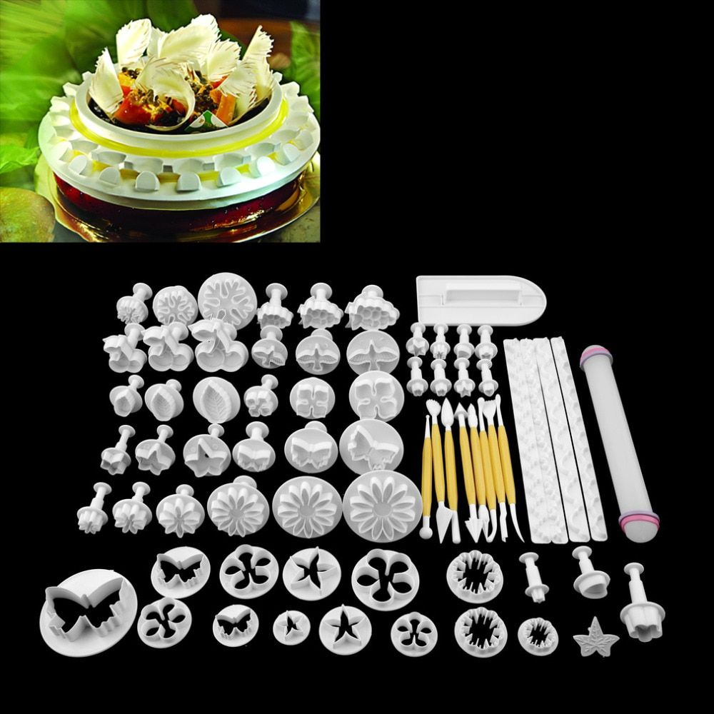68Pcs/set Fondant Cake Cookie Sugar Craft Decorating Plunger Flowers Modelling <font><b>Tools</b></font> Set DIY Cake Cutters Molds Sugarcraft