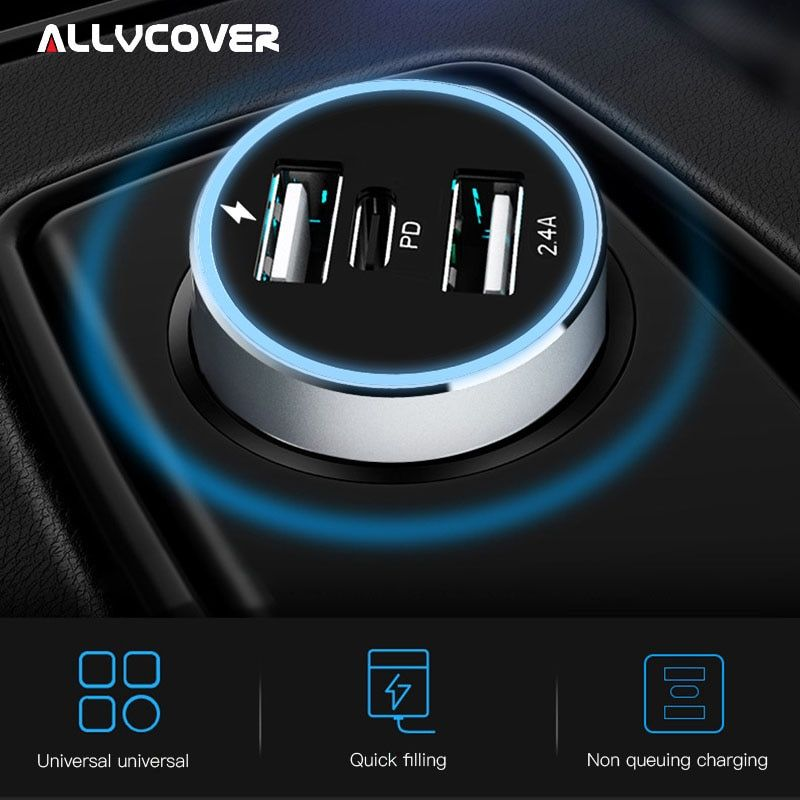 Allvcover 48W Dual USB Type C PD Quick Charge QC 3.0 Charger For Samsung S9 Xiaomi QC 3.0 USB Type-c PD Car Charger for iPhone