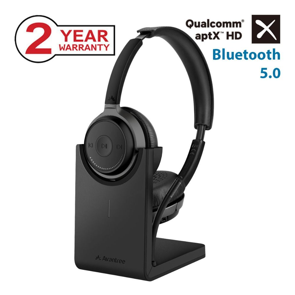 Avantree AptX HD Wireless On Ear Headphones with Desktop Charging Stand, Bluetooth 5.0 Boom Mic Headsets for Calls TV PC