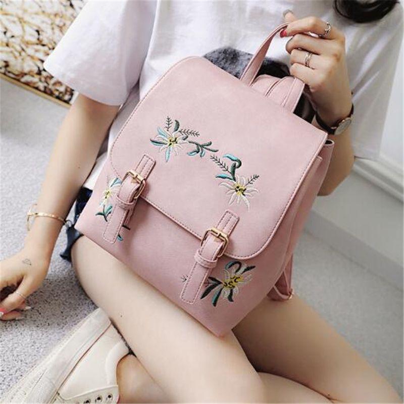 DIDA BEAR marque femmes sacs à dos en cuir sacs d'école féminins pour filles sac à dos petit Floral broderie fleurs sac à dos Mochila