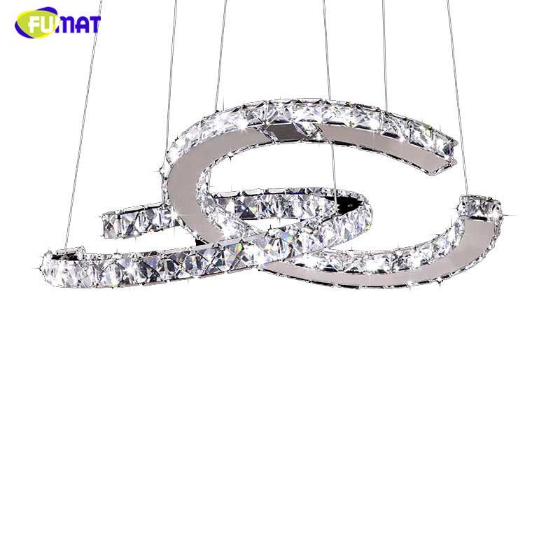 FUMAT Moderne Chrom Pendelleuchte Kristalle Diamant Ring Led-lampe Edelstahl Hängen Licht Einstellbar Cristal LED Glanz