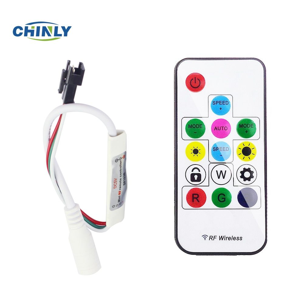 DC5V/12V 14key Mini-RF wireless remote controller for led strip WS2811/WS2812B/WS2813,can control 2048pixel,300 kinds mode