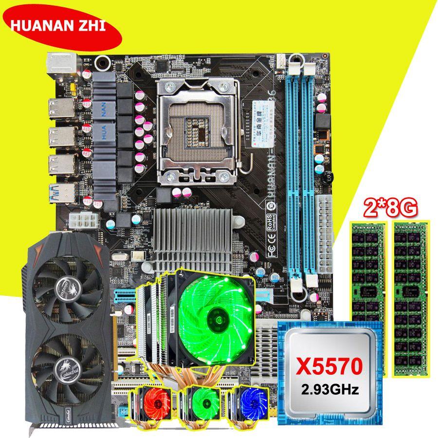 Motherboard bundle HUANAN ZHI X58 motherboard with CPU Intel Xeon X5570 2.93GHz cooler RAM (2*8G)16G RECC GTX760 2G video card