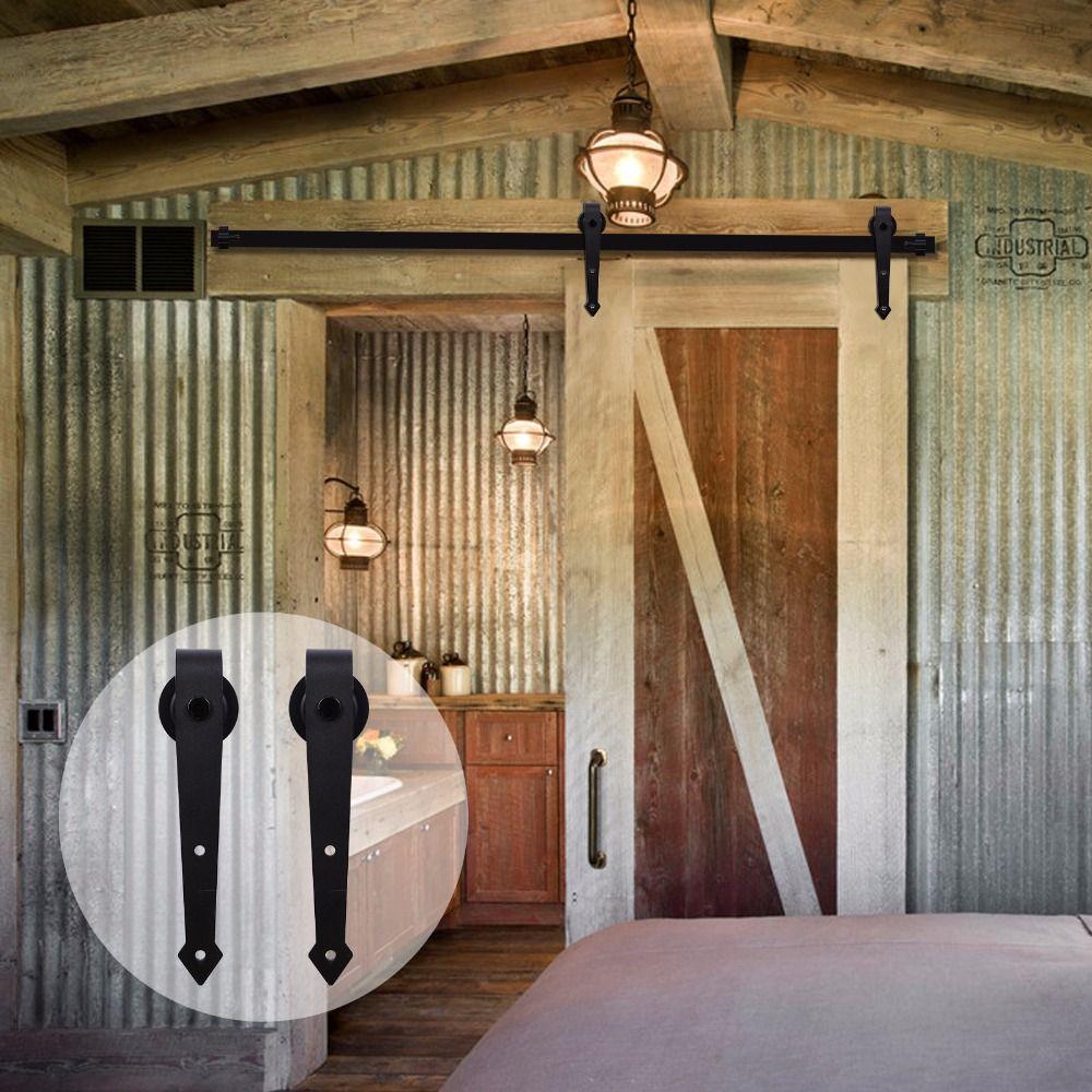 LWZH Industriellen Stil Schiebe Barn Door Stahl Hardware Kit Schrank Track Set Schwarz Pfeil Geformt Kleiderbügel für 10FT/11FT einzelne Tür