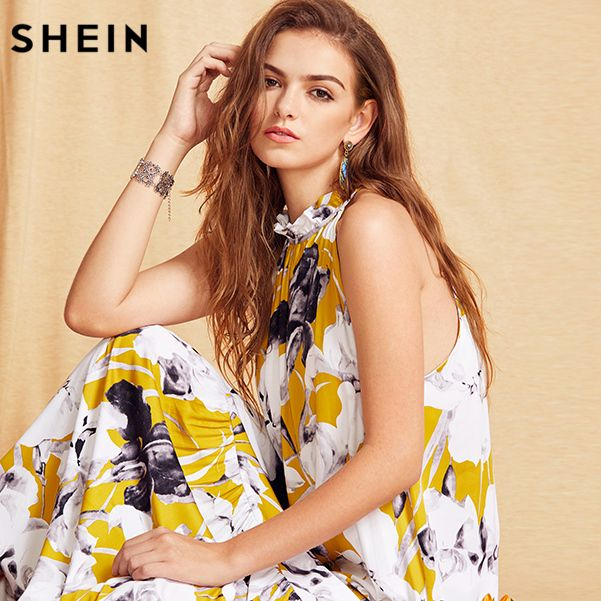SHEIN Womens Summer Long Beach Dresses Boho Ladies New Style Fashion Multicolor Floral Print Sleeveless Maxi Dress