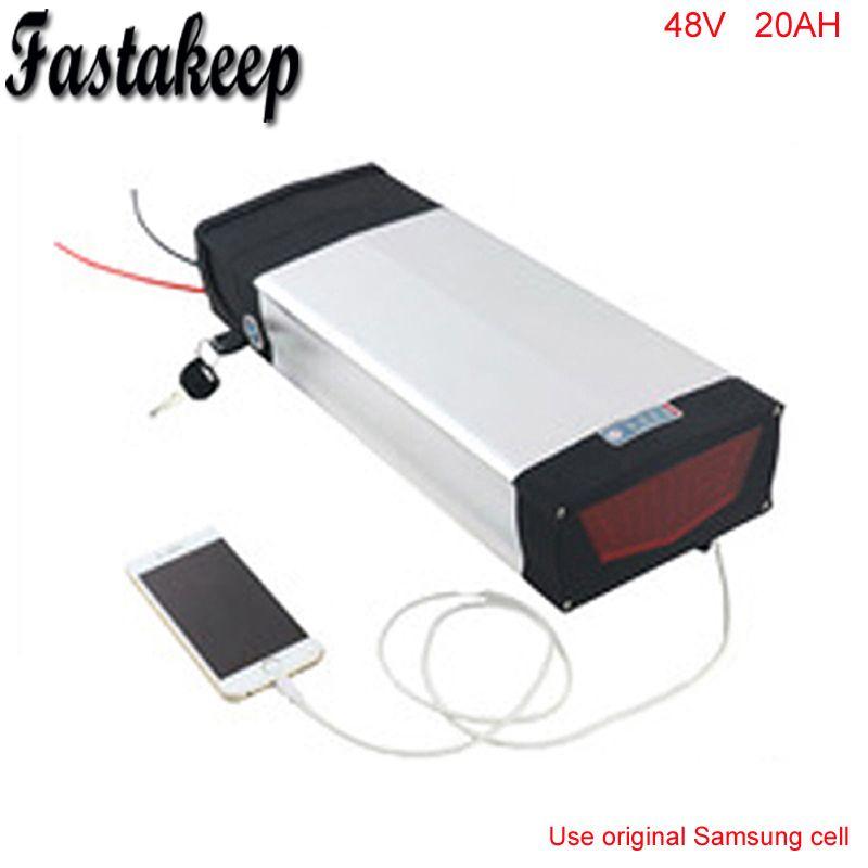 Rear rack 48V 1000W electric bike battery 48v 20ah electric bicycle battery 48v 20ah lithium ion battery For Samsung Cell
