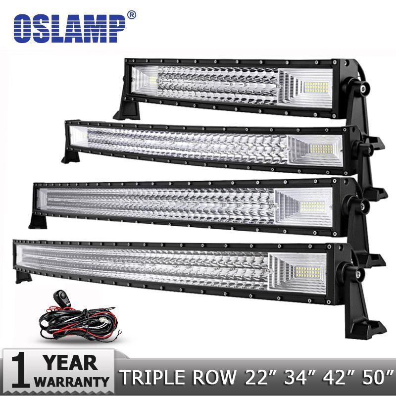 <font><b>Oslamp</b></font> 3-Row 12 20 22 23 34 42 50 Straight/Curved LED Light Bar 4x4 Offroad Led Bar Combo Beam Led Work Light Bar 12v 24v
