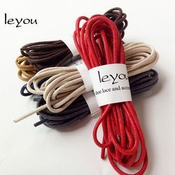 Leyou 80-160cm Round Waxed Coloured Shoelaces Elastic Leather Shoes Strings Boot Sport Shoe Laces Cord