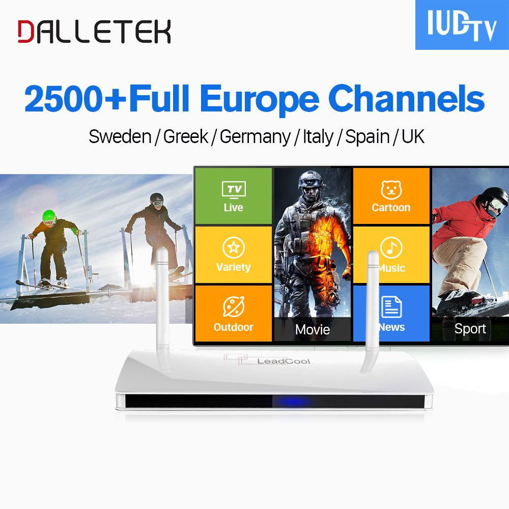 Dalletektv IP TV Europe IPTV Box Leadcool Android 6.0 TV Box IUDTV Subscription IPTV Italia Spain UK Swedish Arabic IPTV Top Box