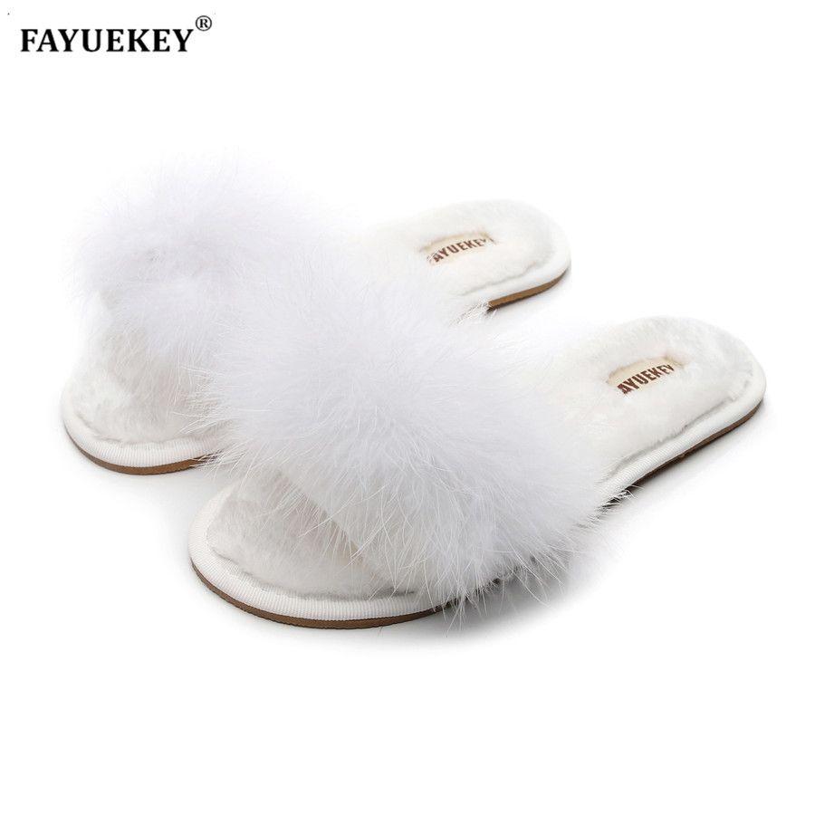FAYUEKEY 2019 nouveau printemps été hiver maison coton en peluche fourrure pantoufles femmes intérieur étage chambre chaussures plates livraison gratuite