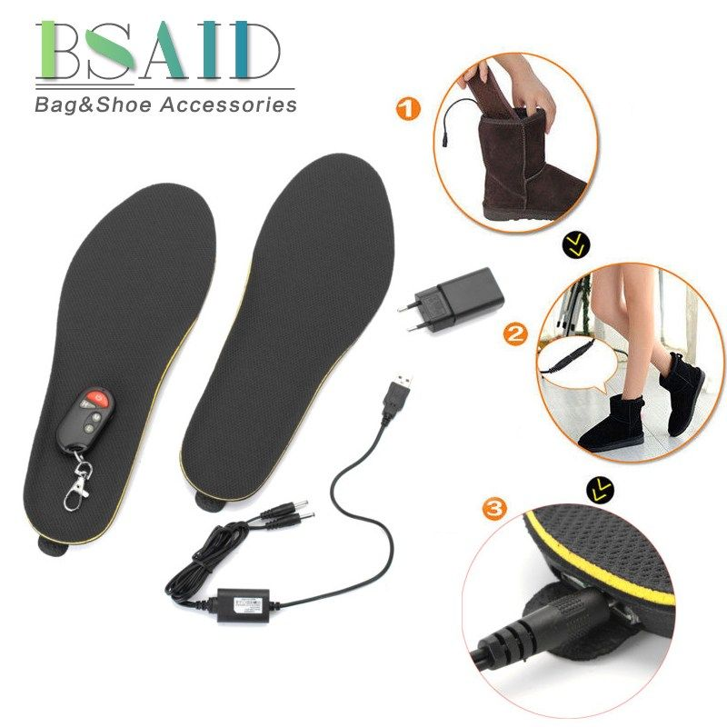 BSAID Electric Heated Insoles Remote Control, Adjustable Length Autumn Winter Foot Warmer Heating Insoles Shoes Boots Foot Pads