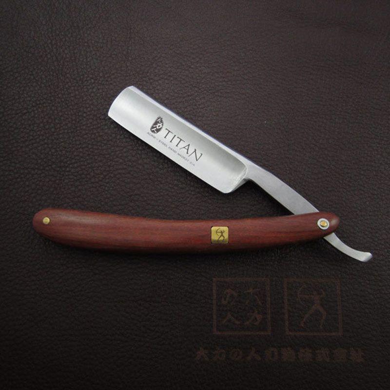 Livraison gratuite Titan bois poignée droite rasoir en acier lame tranchante déjà